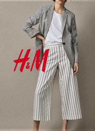Широкие брюки кюлоты с высокой талией на потайной резинке h&m eur 48/52