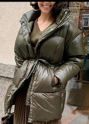 Стильное пальто пуффер хаки оверсайз тренд 2022 осень зима