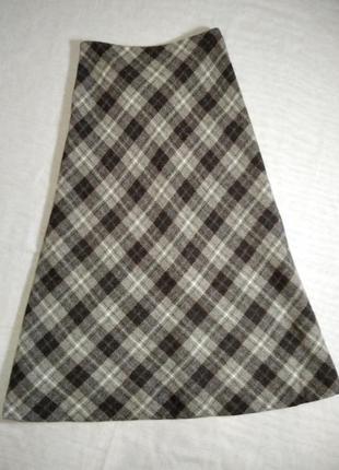 Теплая шерстяная  удлиненная юбка трапеция в клетку от hobbs.