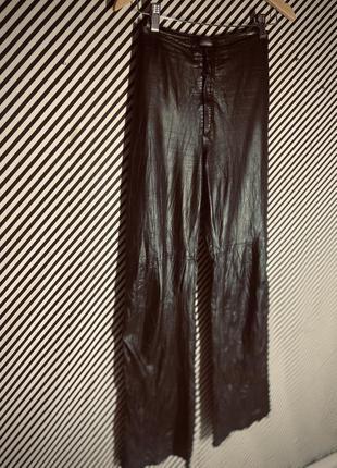 Кожаные штаны палаццо натуральная кожа