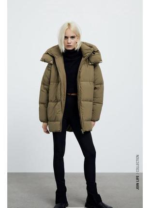 Тёплый пуховик zara, зимняя куртка , пуффер zara, одеяло-пуховик zara