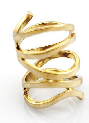 Широкое золотое кольцо бижутерия лента1 фото