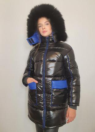 """Зимова куртка """"ірма"""" з натуральним хутром, чорний/синій"""