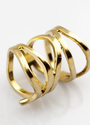 Широкое золотое кольцо бижутерия лента2 фото