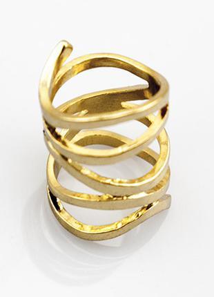 Широкое золотое кольцо бижутерия лента3 фото