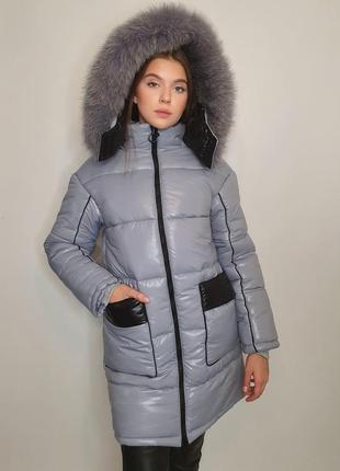 """Зимова куртка """"ірма"""" з натуральним хутром, сірий"""