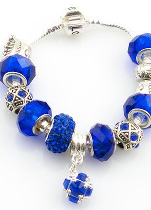 Синий браслет в стилде пандора pandora шармы уже включены в цену!