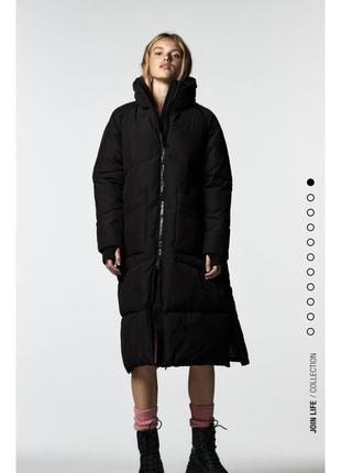 Тёплый зимний пуховик zara, пуффер одеяло-пуховик, зимняя куртка zara