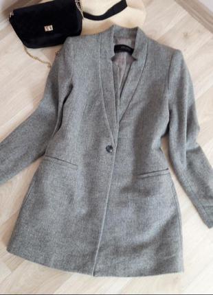 Женское пальто жакет пиджак серого цвета на пуговице натуральная ткань на подкладке zara h&m bershka primark asos next mango only