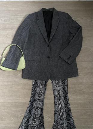 Шерстяной пиджак тёплый uniqlo елочка прямого кроя шерсть серый