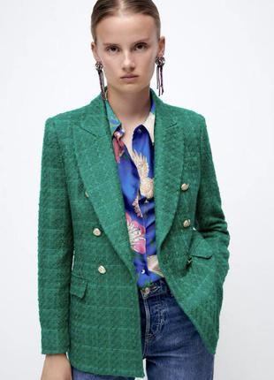 Текстурированный двубортный пиджак от zara