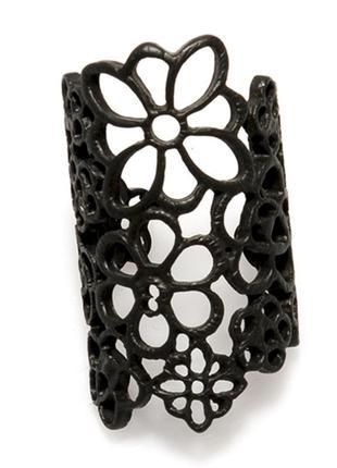 Кольцо кружево, цветы, широкое кольцо, черное