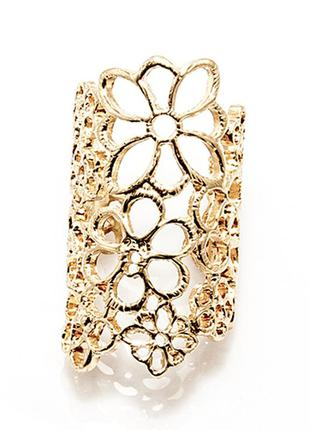 Кольцо кружево, цветы, широкое кольцо бижутерия
