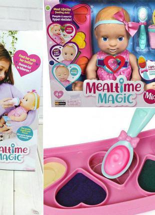 Інтерактивна реалістична лялька кукла mealtime magic mia interactive feeding baby