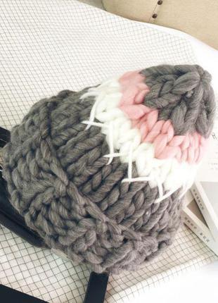 Шапка крупной вязки , супер модная и теплая, такори/хельсинка