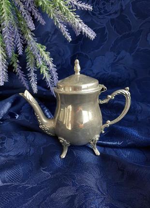 Чайник заварной ссср арт-нуво на ножках чайник с откидной крышкой кофейник серебрение советский