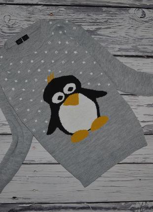 М стильный зимний свитер с новогодним пингвином пингвин