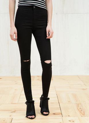 Черные скинни only дырками на коленях skinny на высокой посадке джинсы штаны завышенной