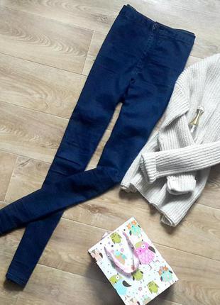 Темно синие джинсы скинни topshop скини skinny на высокой посадке штаны скіні