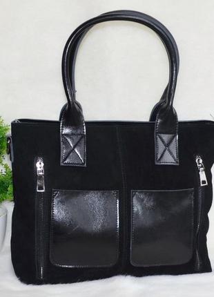 Шикарная кожаная сумка с замшевой лицевой стороной и карманами