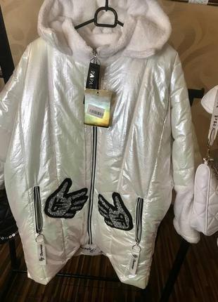 Шикарная белоснежная тёплая куртка,люкс качество,ог до 150,об до 130.