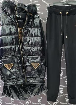 Бомбезный теплый костюм с жилеткой,высокое качество,размер универсальный.
