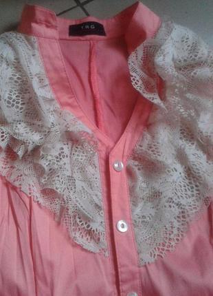 Блуза, рубашка, блузка, с рукавами, рюши, розовая