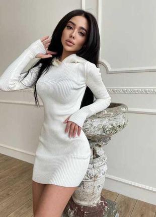 Платье рубчик белое
