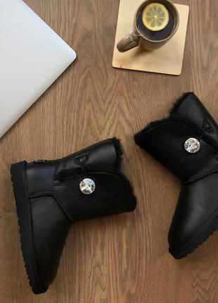 Угги со сваровски ugg bailey button leather bling black
