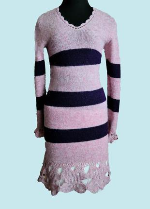Вязаное шерстяное платье ручной работы