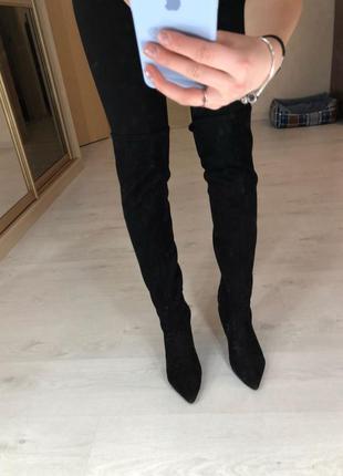 Замшевые чёрные ботфорты на шпильке каблуке