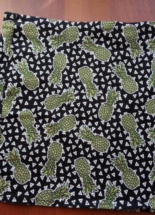 Мини юбка в ананас от h&m