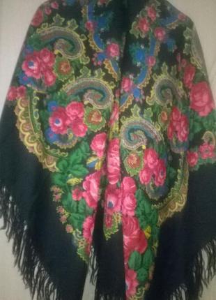 Винтажный павлопосадский платок шаль 100% шерсть!