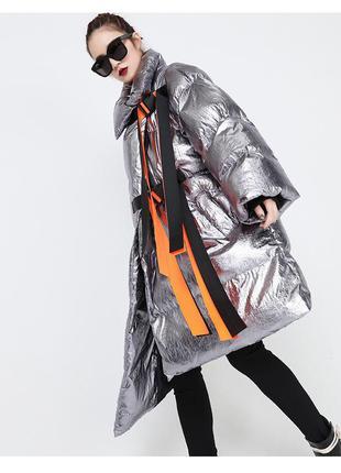 Пуховик одеяло металлик серебро парка пальто оверсайз oversize
