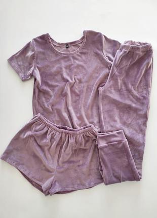 Плюшевая пижама тройка со штанами