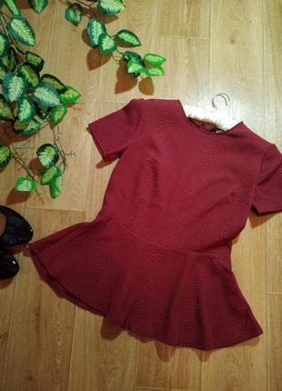 Блуза марсала винного цвета с баской h&m