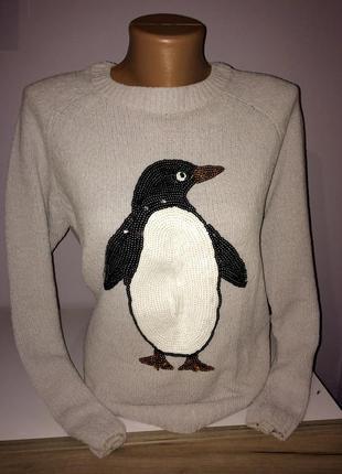 Тёплый свитер, кофта с пингвином