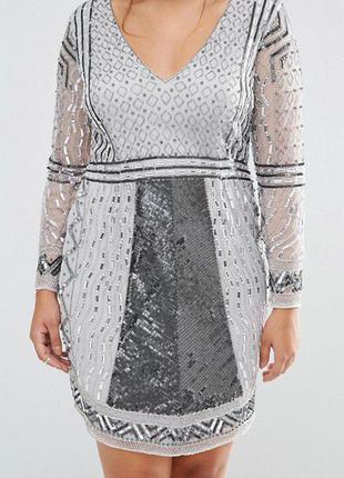 Платье мини с длинными рукавами и отделкой asos 54-56