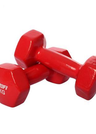 Гантель 4 кг ms 3279 с виниловым покрытием (красный)