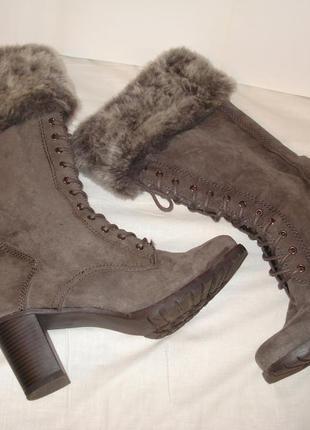 39-40 р. новые. шикарные фирменные замшевые демисезонные ботинки