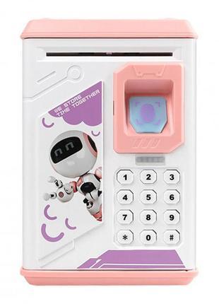 Копилка-сейф  с кодовым замком отпечатком пальца и купюроприемником