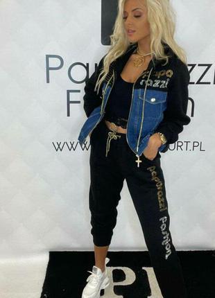 Теплый костюм на флисе с джинсовкой, люкс качество.