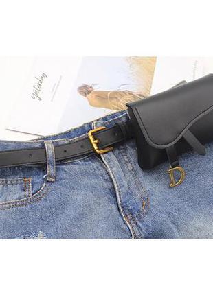 Модный женский черный ремень поясная сумка ремень 4017