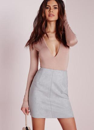 Замшевая мини юбка, юбка с карманами, юбка трапеция