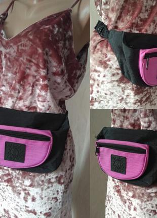 Бананка сумка на пояс черно розовая