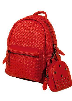 Красный кожаный рюкзак, портфель + в комплекте кошелек-косметичка.