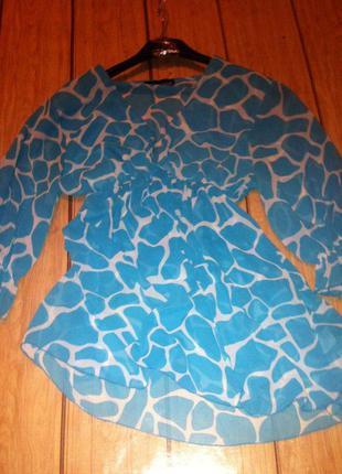 Стильная шифоновая блуза туника в расцветке жирафа. бирюза. asos. s-m.
