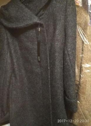 Зимнее пальто в эксклюзивной черной валяной шерсти grislav