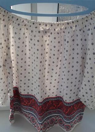 Блуза с открытыми плечами из вискозы р.10-14