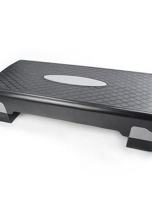 Степ платформа двухступенчатая тренажер, подставка доска-степ тренажер для аэробики, фитнеса черно-серый